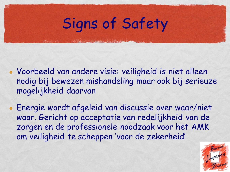 Signs of Safety Voorbeeld van andere visie: veiligheid is niet alleen nodig bij bewezen mishandeling maar ook bij serieuze mogelijkheid daarvan.