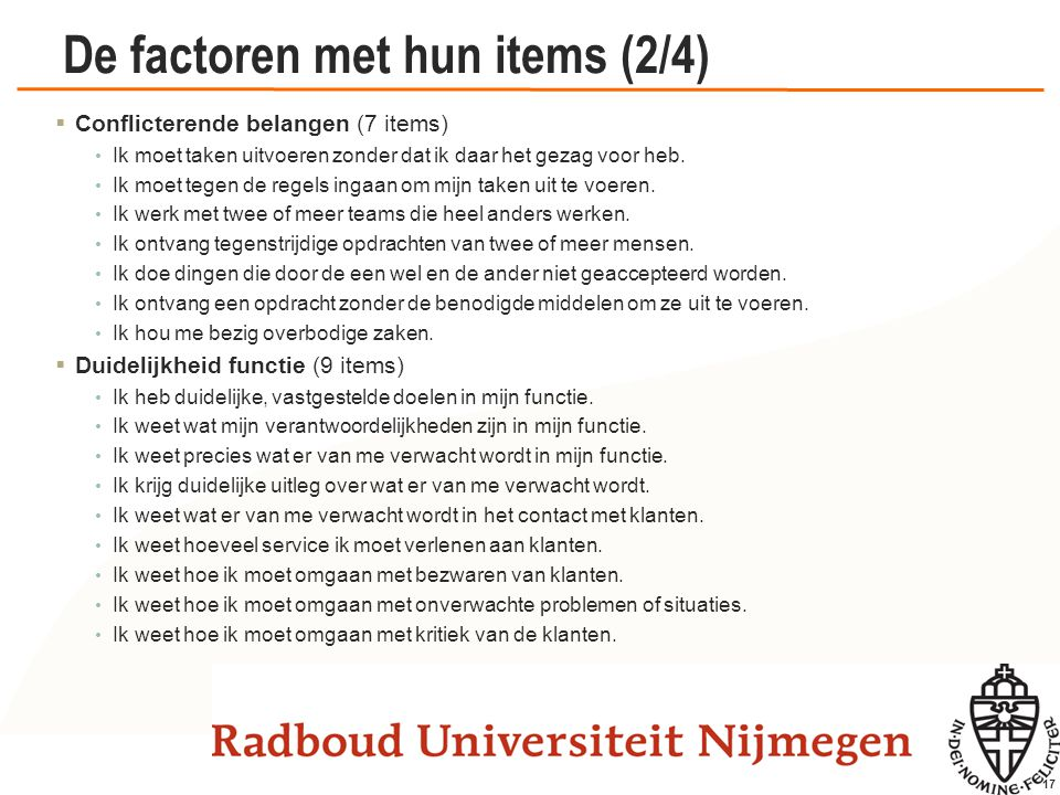 De factoren met hun items (3/4)