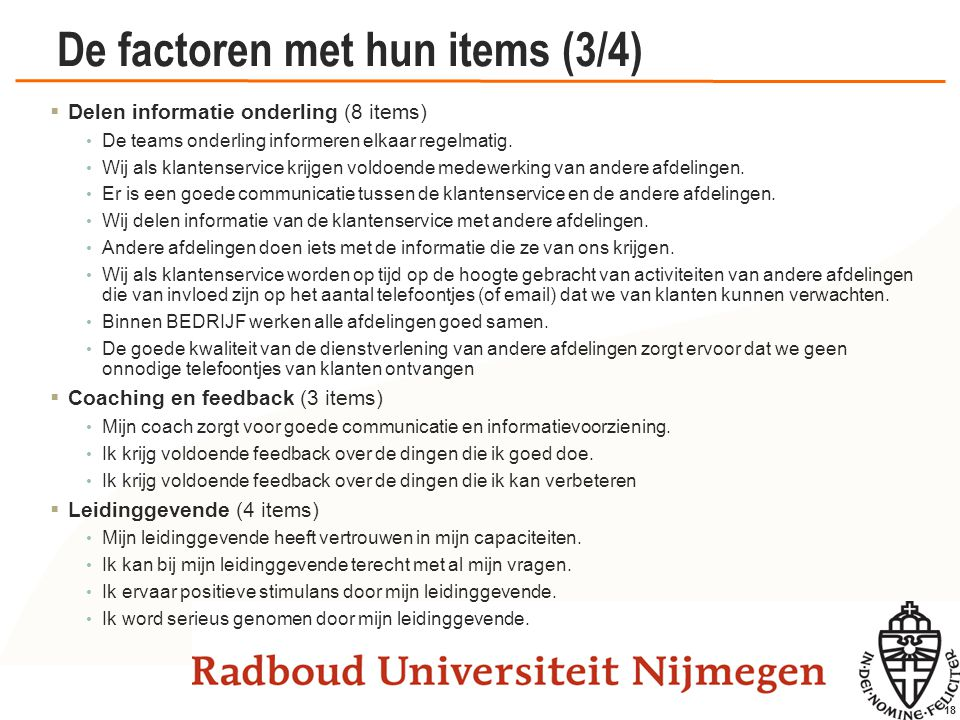 De factoren met hun items (4/4)