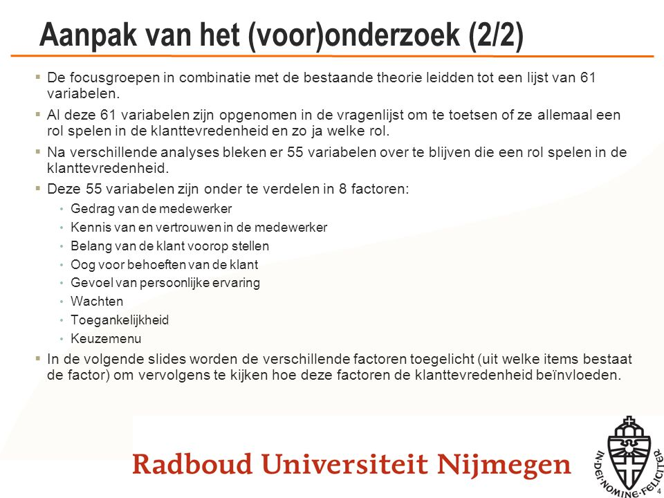 De factoren met hun items (1/4)