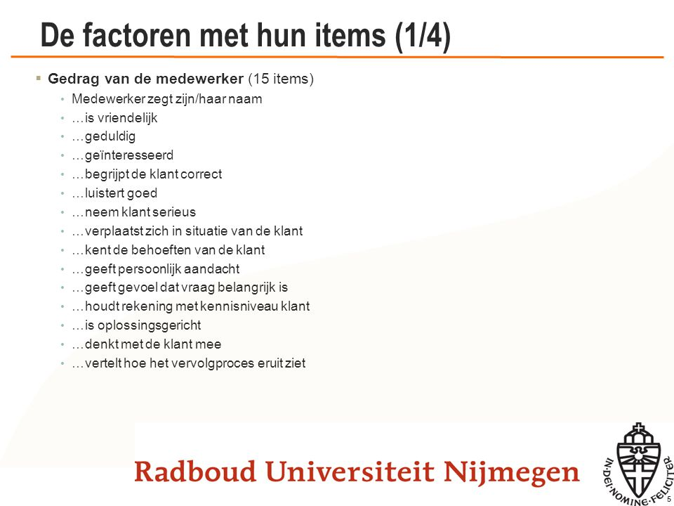 De factoren met hun items (2/4)