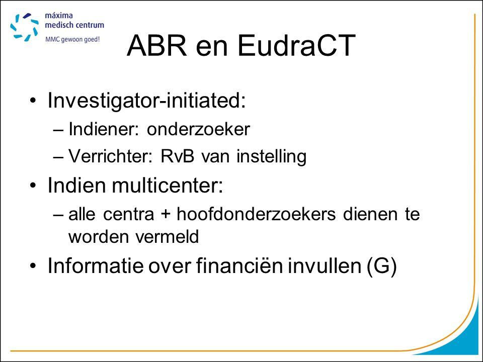ABR en EudraCT Investigator-initiated: Indien multicenter: