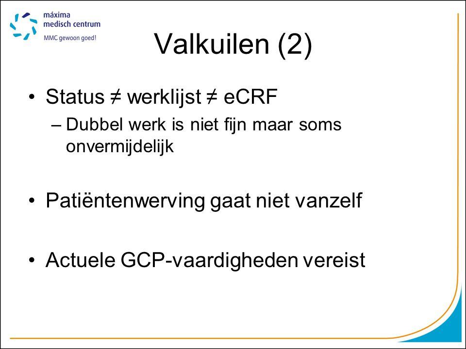 Valkuilen (2) Status ≠ werklijst ≠ eCRF