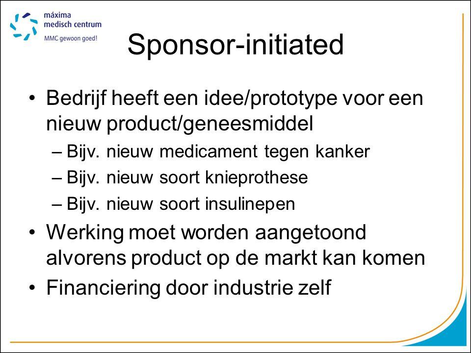 Sponsor-initiated Bedrijf heeft een idee/prototype voor een nieuw product/geneesmiddel. Bijv. nieuw medicament tegen kanker.