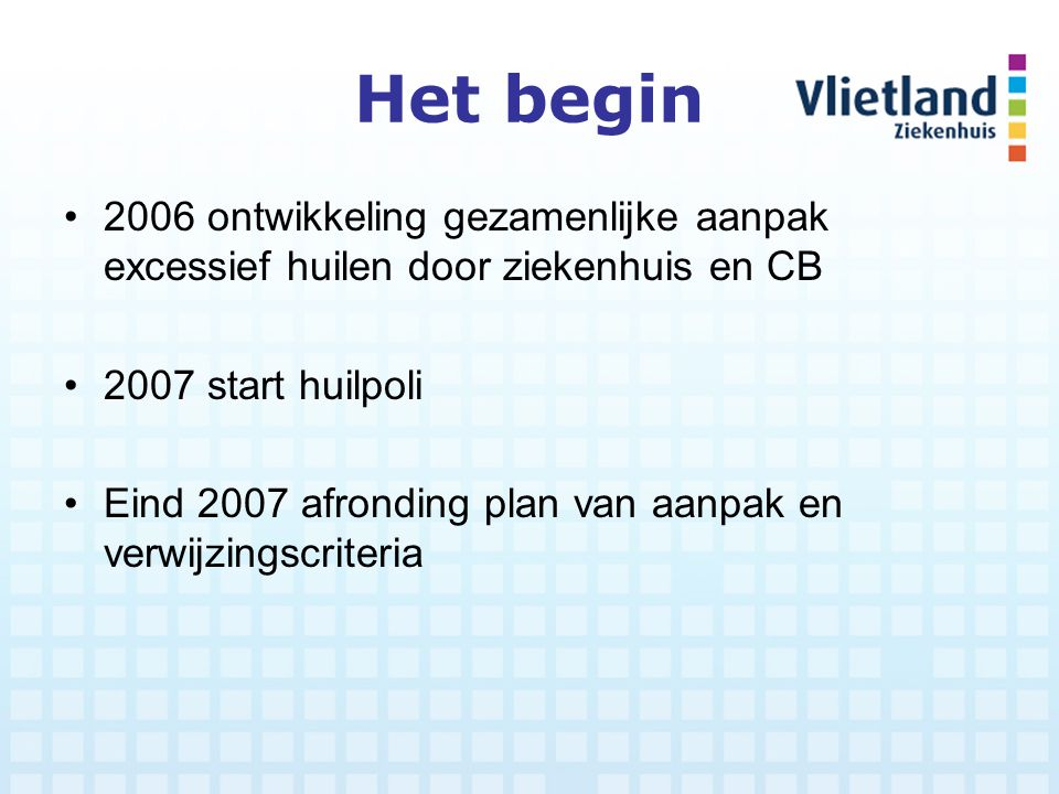 Het begin 2006 ontwikkeling gezamenlijke aanpak excessief huilen door ziekenhuis en CB. 2007 start huilpoli.