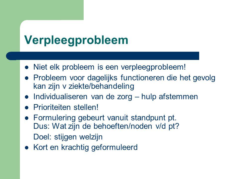 Verpleegprobleem Niet elk probleem is een verpleegprobleem!