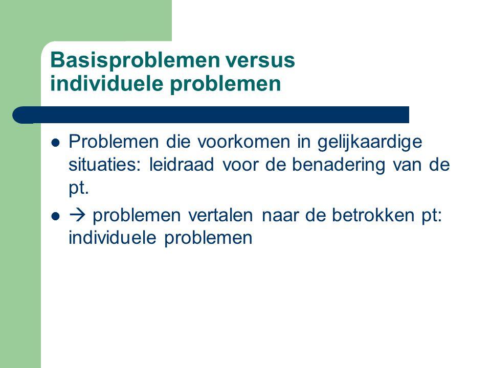 Basisproblemen versus individuele problemen