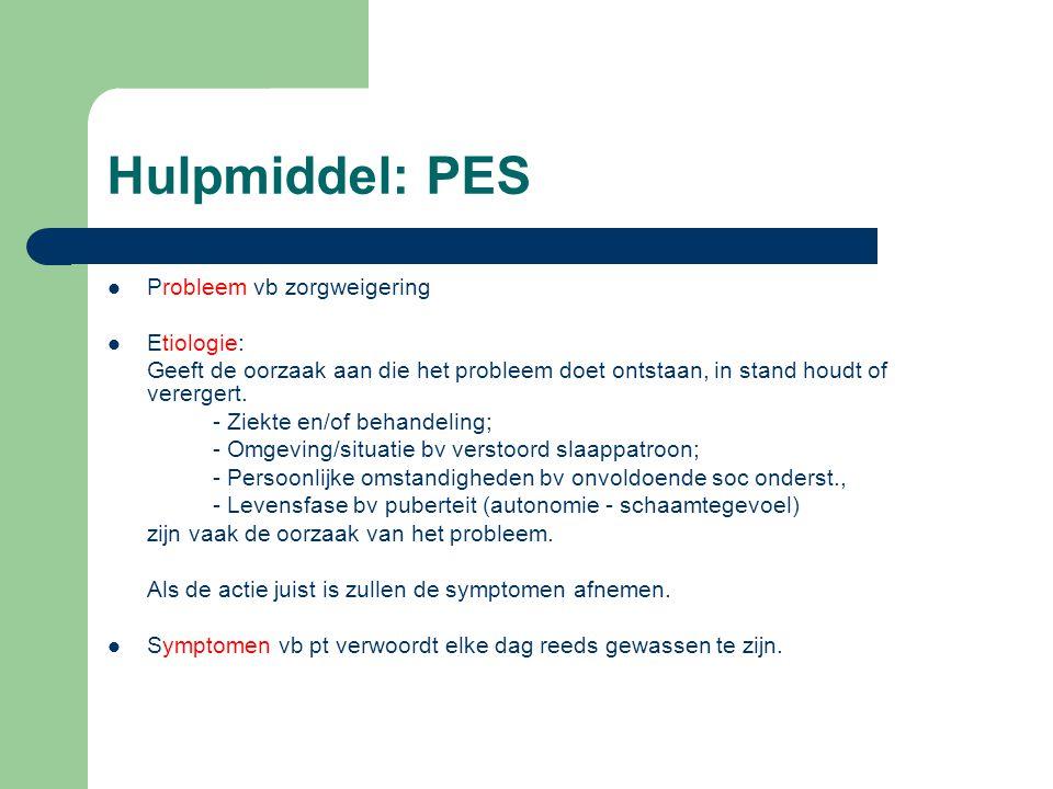 Hulpmiddel: PES Probleem vb zorgweigering Etiologie: