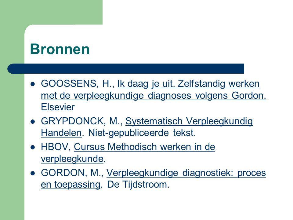 Bronnen GOOSSENS, H., Ik daag je uit. Zelfstandig werken met de verpleegkundige diagnoses volgens Gordon. Elsevier.