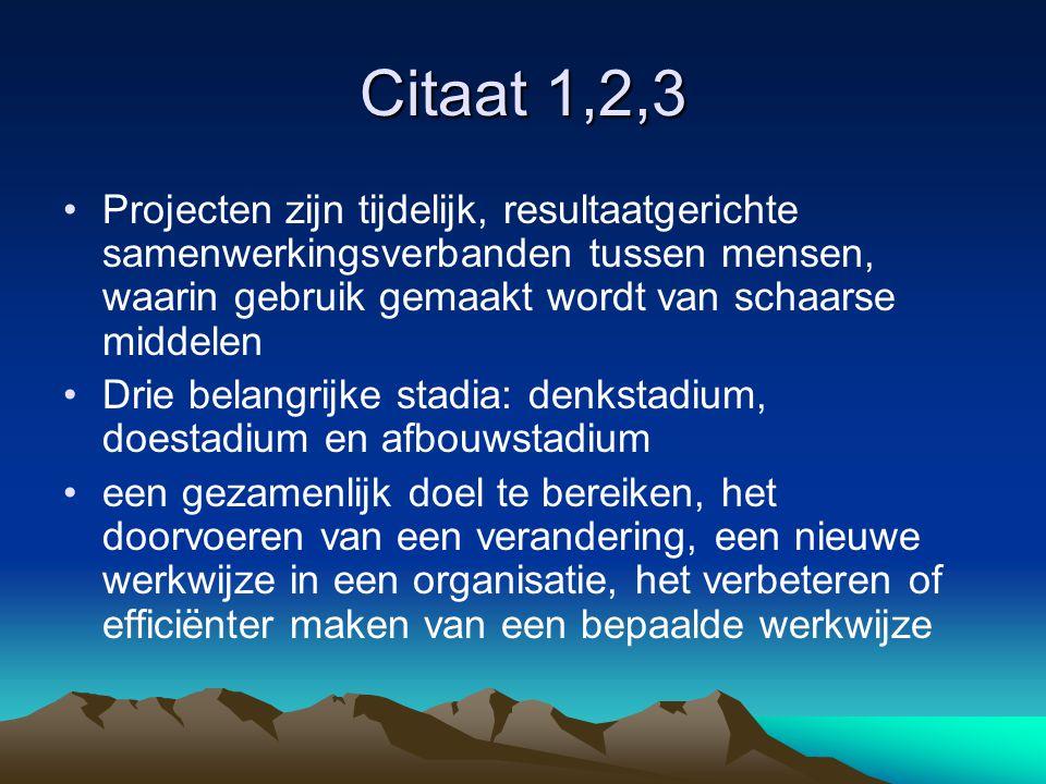 Citaat 1,2,3 Projecten zijn tijdelijk, resultaatgerichte samenwerkingsverbanden tussen mensen, waarin gebruik gemaakt wordt van schaarse middelen.