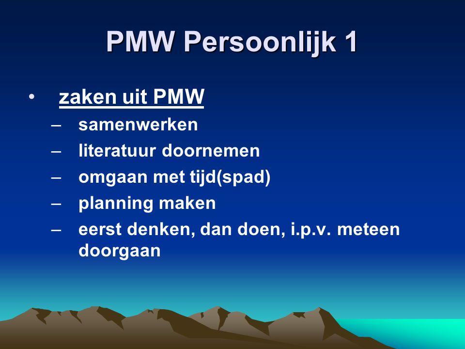 PMW Persoonlijk 1 zaken uit PMW samenwerken literatuur doornemen