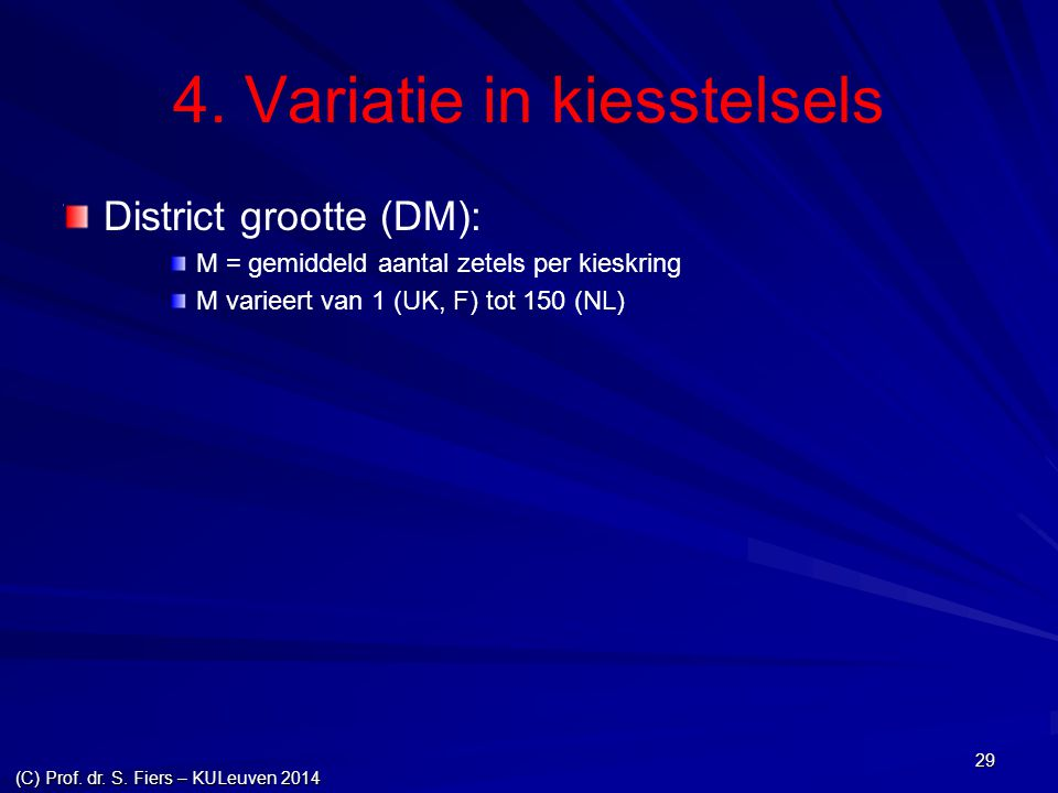 4. Variatie in kiesstelsels