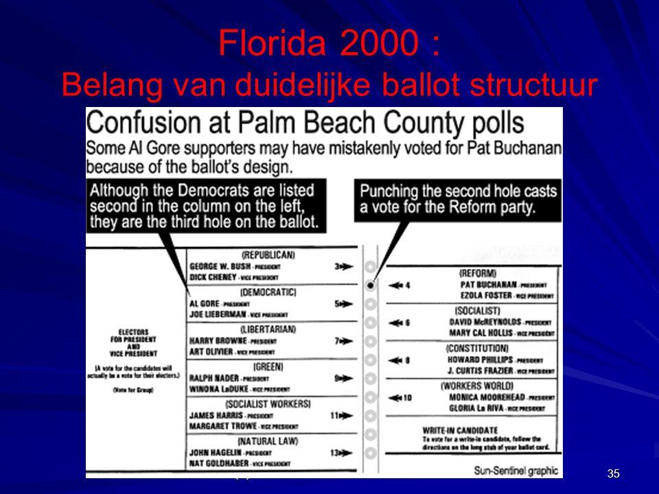 Florida 2000 : Belang van duidelijke ballot structuur