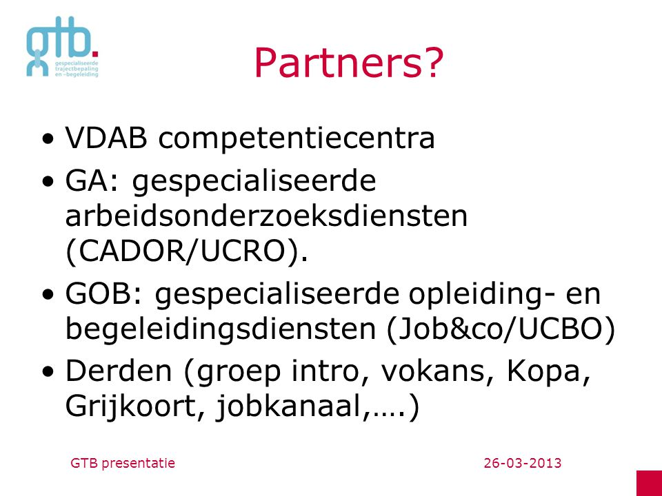 Partners VDAB competentiecentra