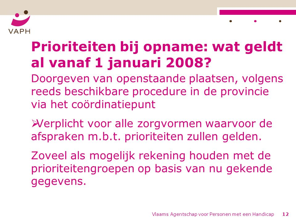 Prioriteiten bij opname: wat geldt al vanaf 1 januari 2008