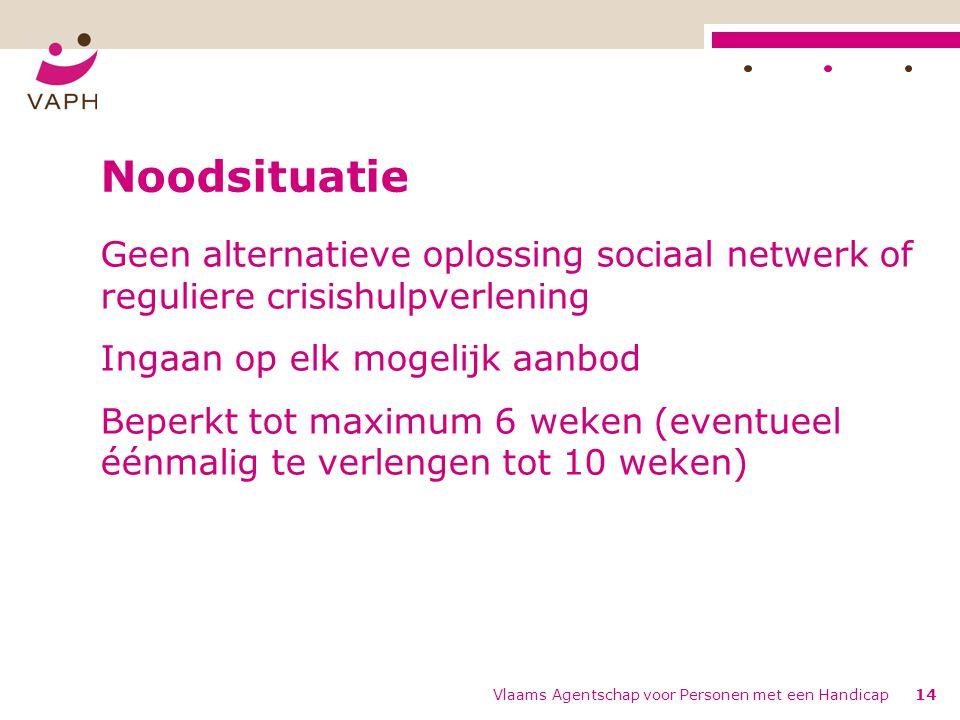 Noodsituatie Geen alternatieve oplossing sociaal netwerk of reguliere crisishulpverlening. Ingaan op elk mogelijk aanbod.