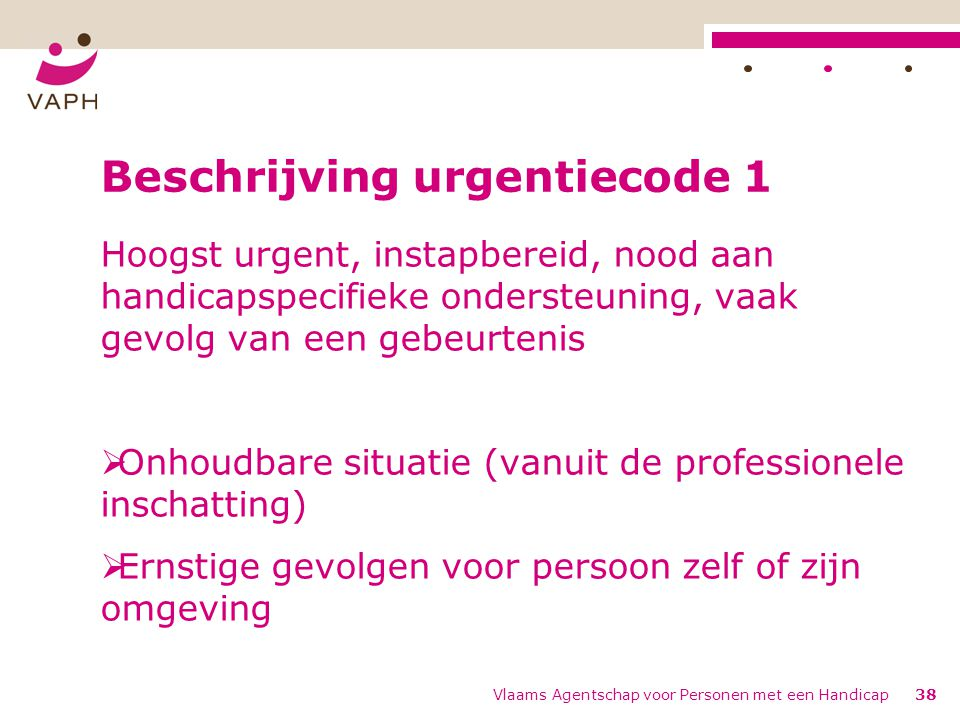 Beschrijving urgentiecode 1