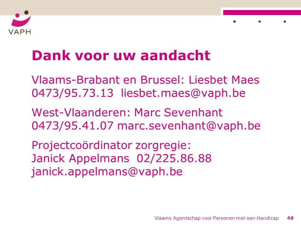 Dank voor uw aandacht Vlaams-Brabant en Brussel: Liesbet Maes 0473/95.73.13 liesbet.maes@vaph.be.
