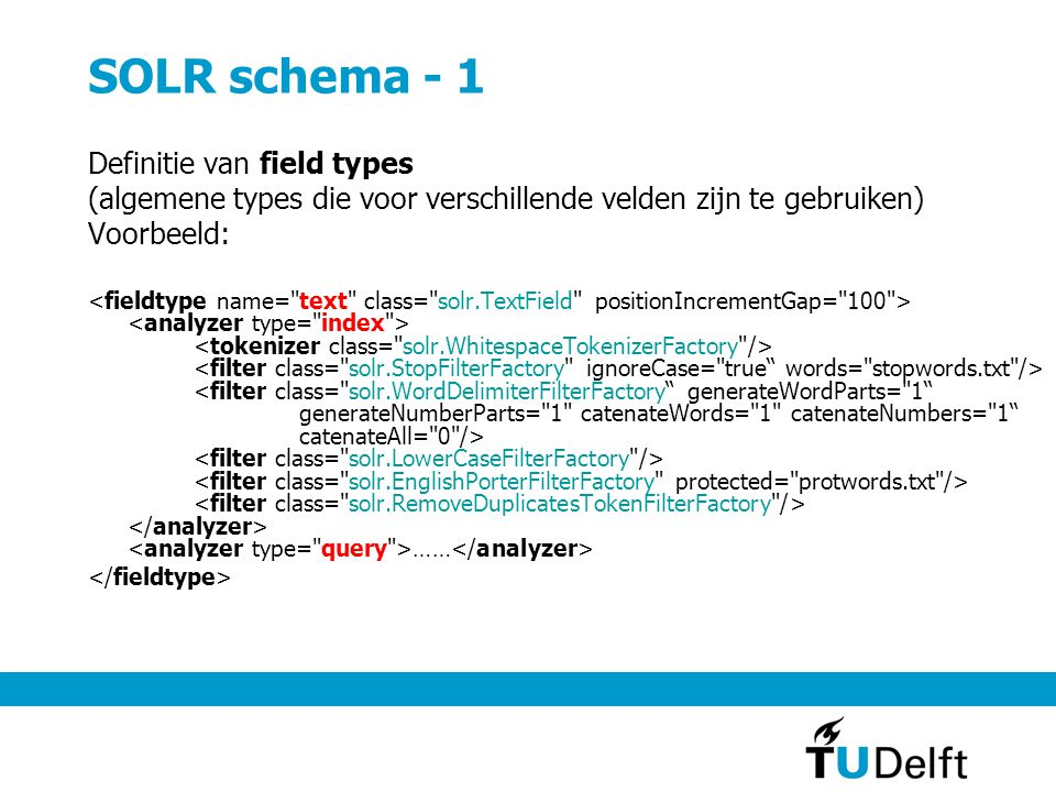 SOLR schema - 1 Definitie van field types