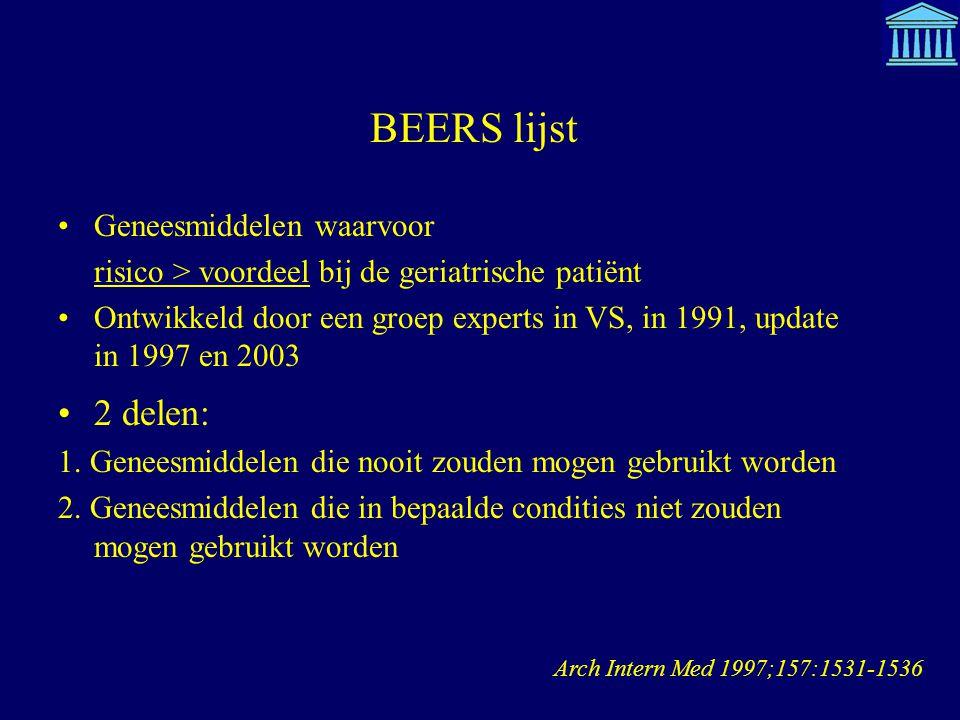 BEERS lijst 2 delen: Geneesmiddelen waarvoor