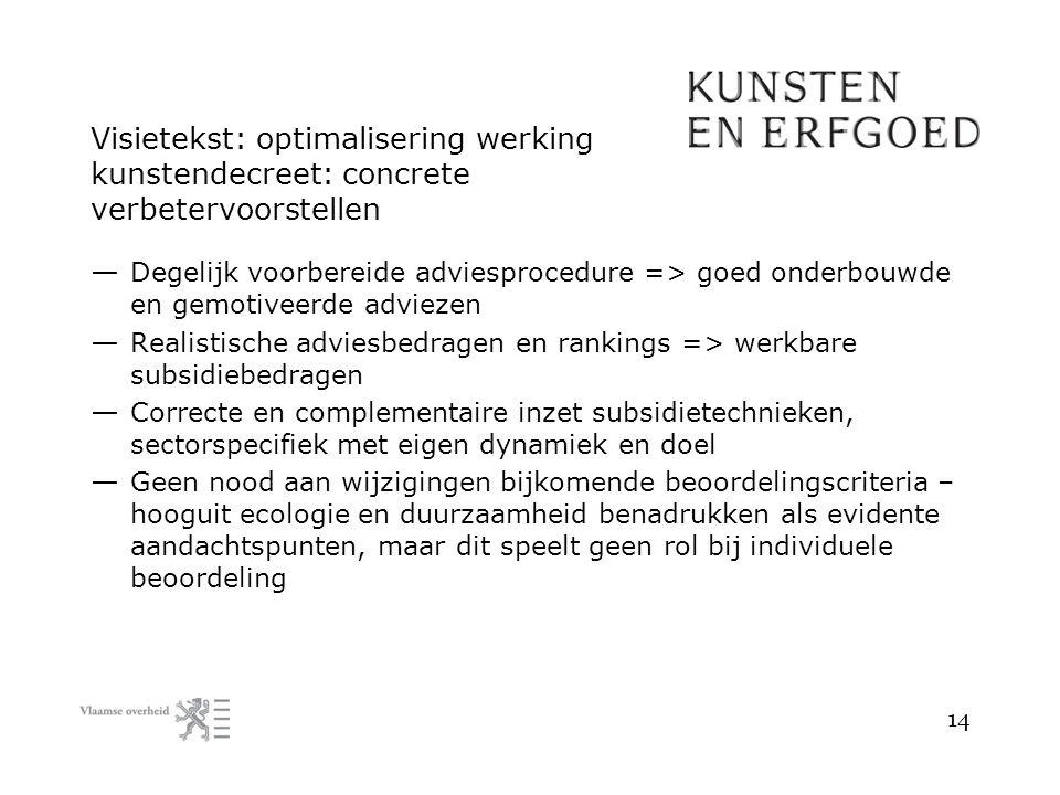 Visietekst: optimalisering werking kunstendecreet: concrete verbetervoorstellen