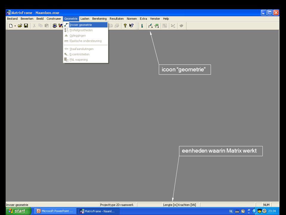 icoon geometrie eenheden waarin Matrix werkt
