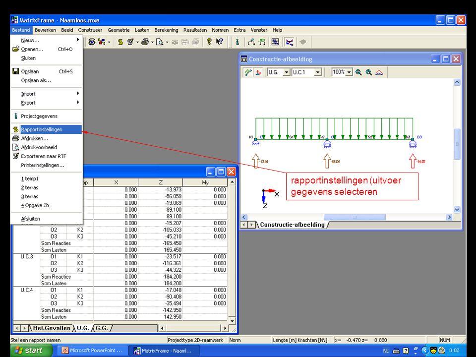 rapportinstellingen (uitvoer gegevens selecteren