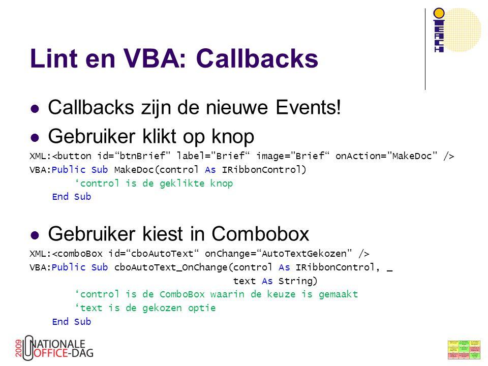 Lint en VBA: Callbacks Callbacks zijn de nieuwe Events!