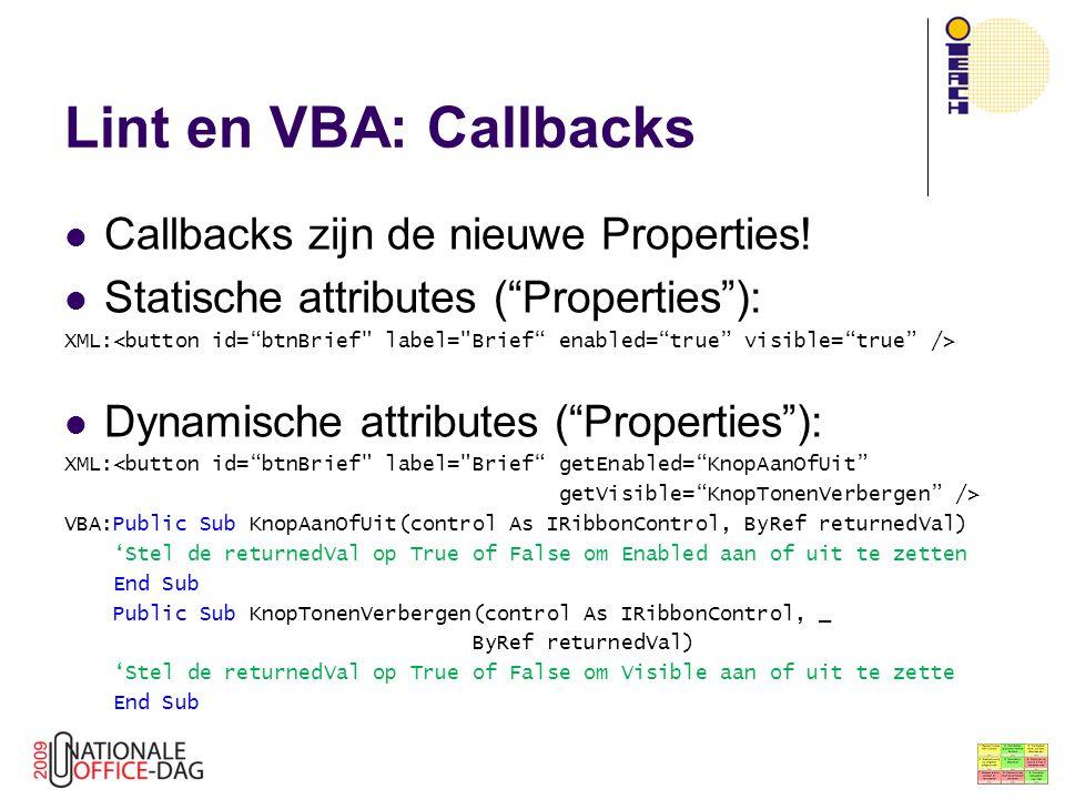 Lint en VBA: Callbacks Callbacks zijn de nieuwe Properties!