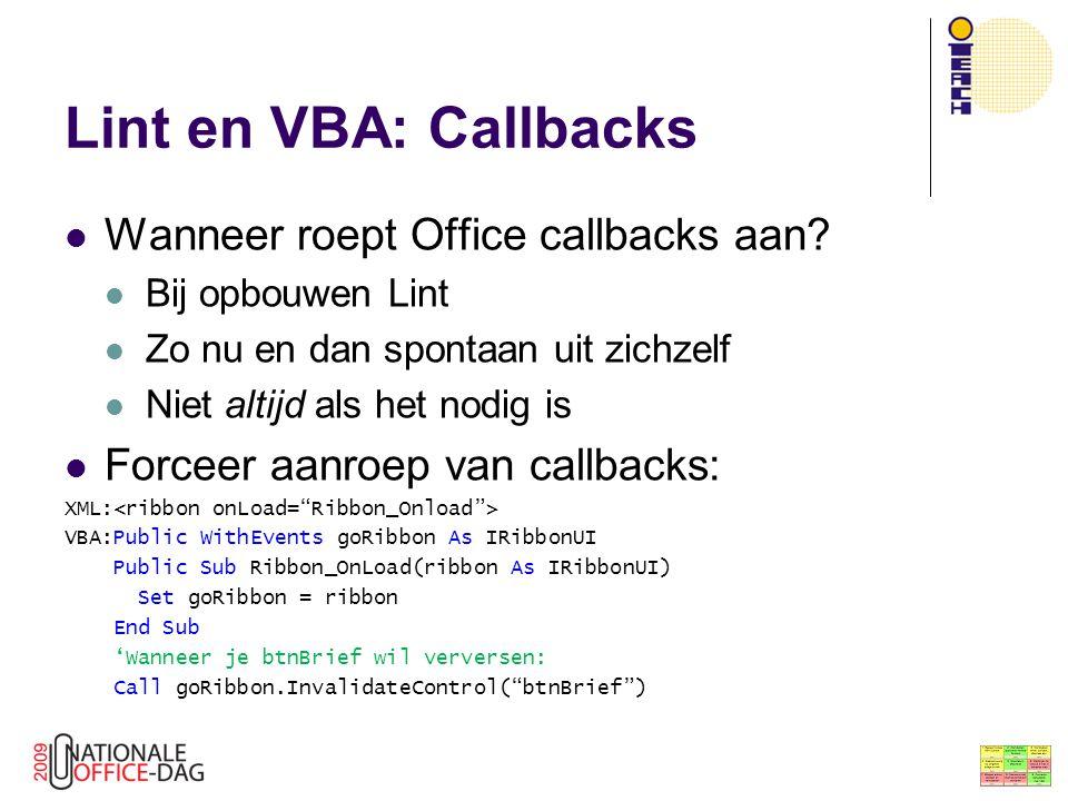 Lint en VBA: Callbacks Wanneer roept Office callbacks aan
