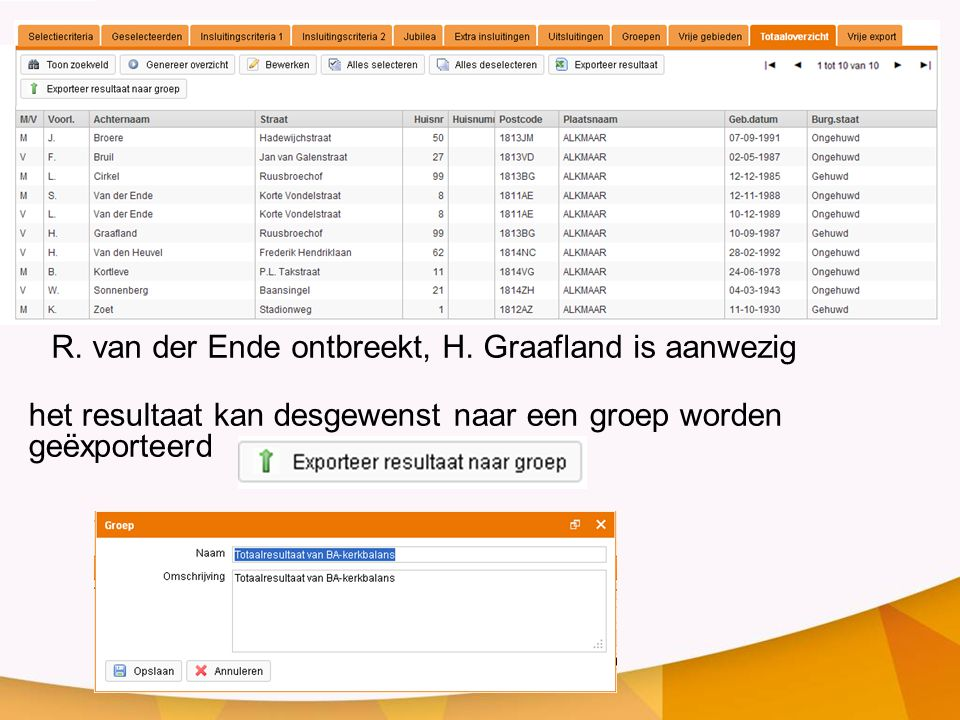 R. van der Ende ontbreekt, H. Graafland is aanwezig