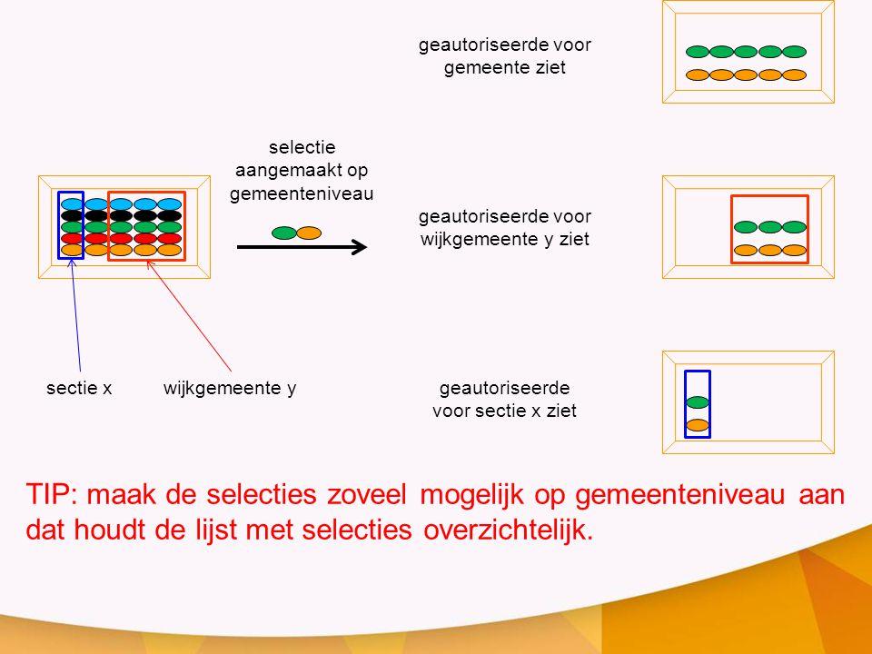 wijkgemeente y sectie x. selectie aangemaakt op gemeenteniveau. geautoriseerde voor wijkgemeente y ziet.