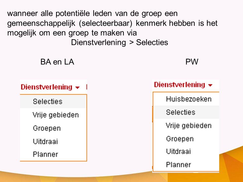 Dienstverlening > Selecties
