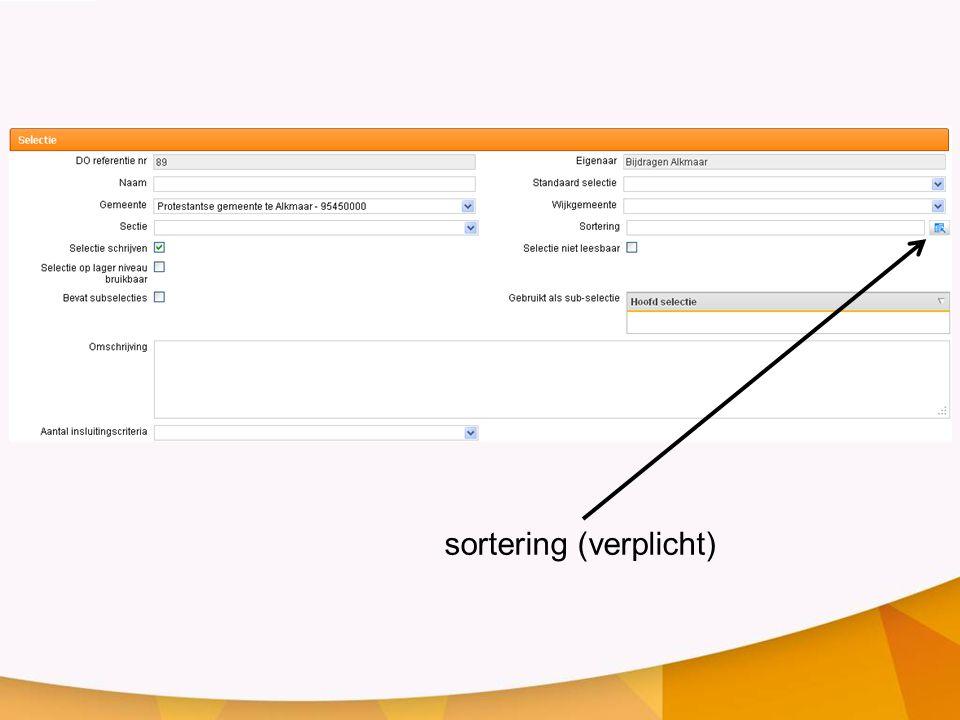 sortering (verplicht)