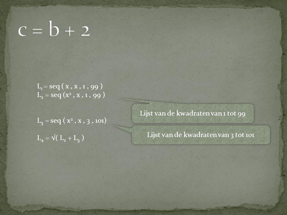 c = b + 2 L1 = seq ( x , x , 1 , 99 ) L2 = seq (x2 , x , 1 , 99 )