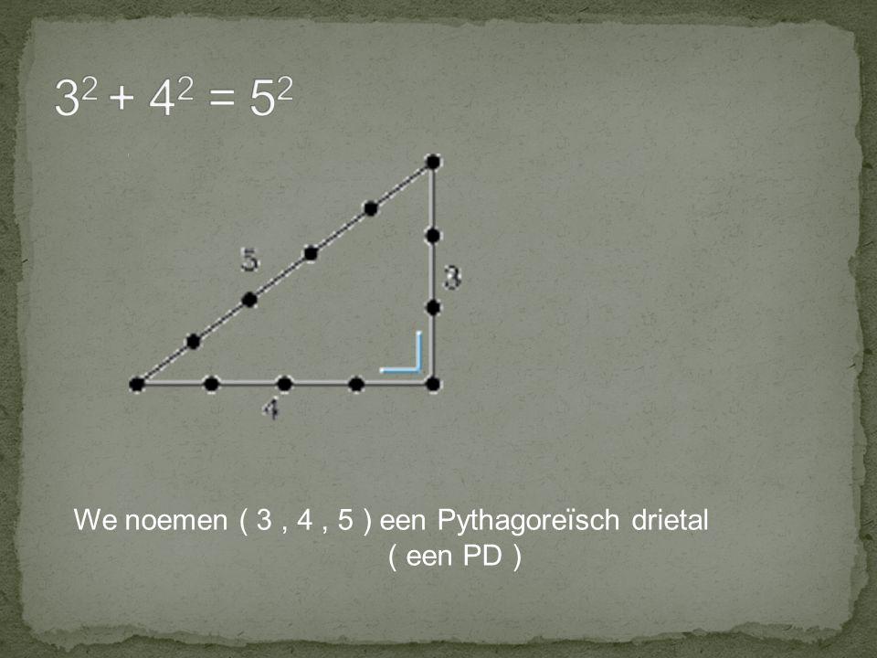 32 + 42 = 52 We noemen ( 3 , 4 , 5 ) een Pythagoreïsch drietal