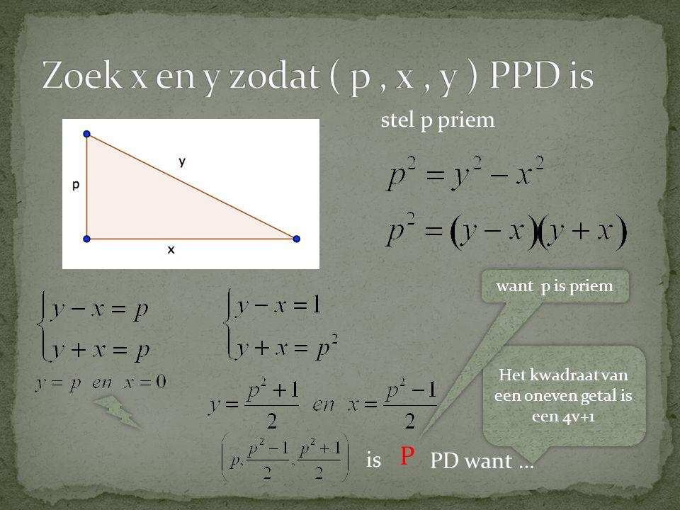 Zoek x en y zodat ( p , x , y ) PPD is
