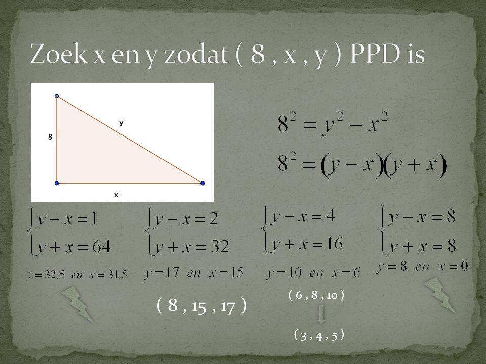 Zoek x en y zodat ( 8 , x , y ) PPD is