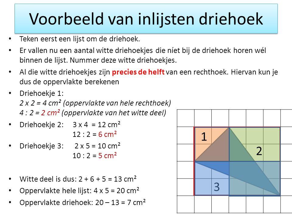 Voorbeeld van inlijsten driehoek