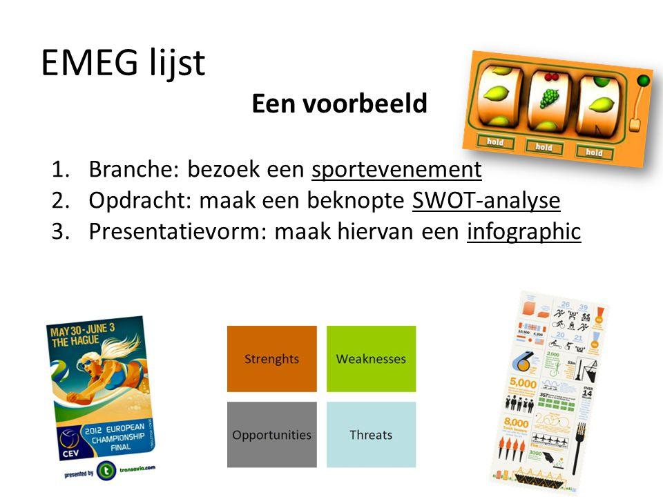 EMEG lijst Een voorbeeld Branche: bezoek een sportevenement