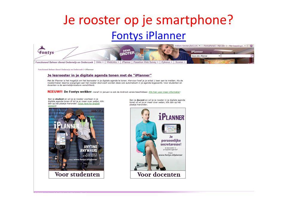Je rooster op je smartphone Fontys iPlanner
