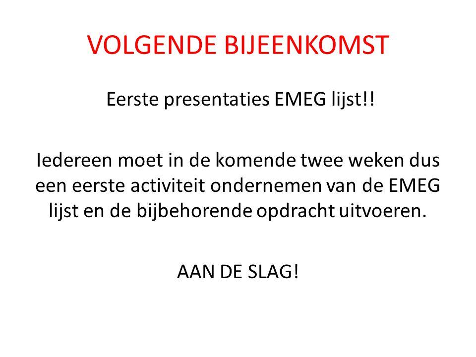 Eerste presentaties EMEG lijst!!