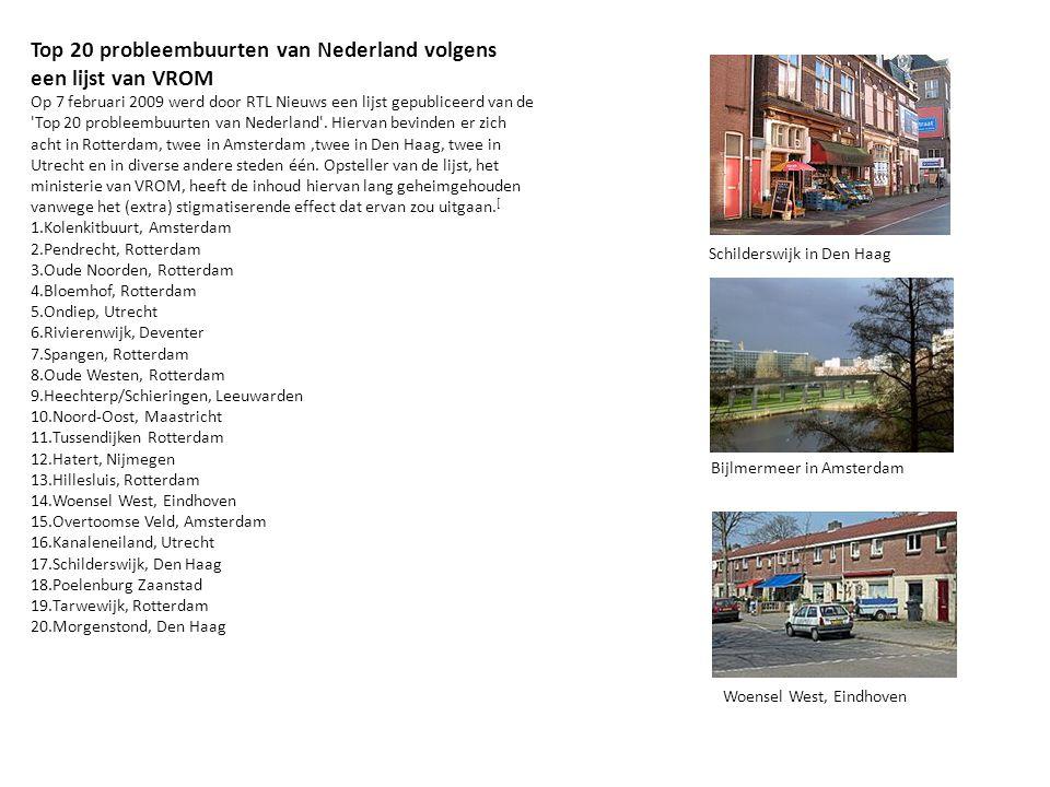 Top 20 probleembuurten van Nederland volgens een lijst van VROM