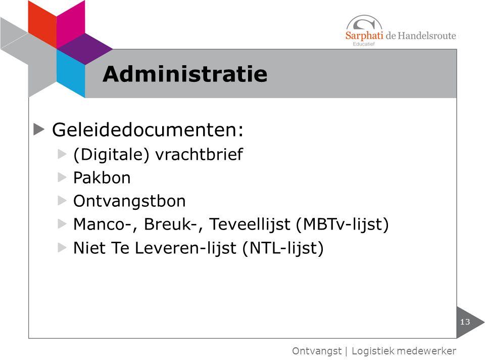 Administratie Geleidedocumenten: (Digitale) vrachtbrief Pakbon