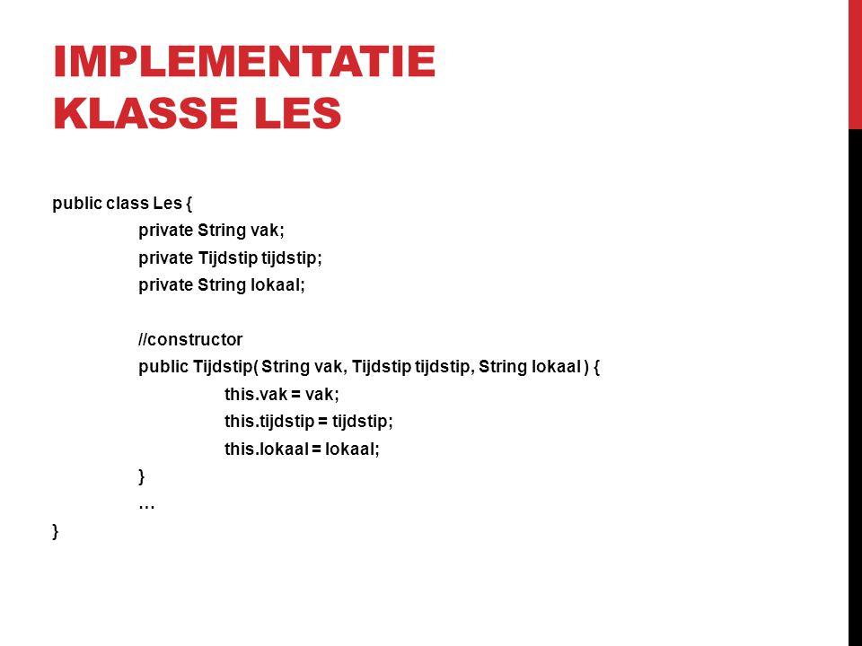 Implementatie klasse les