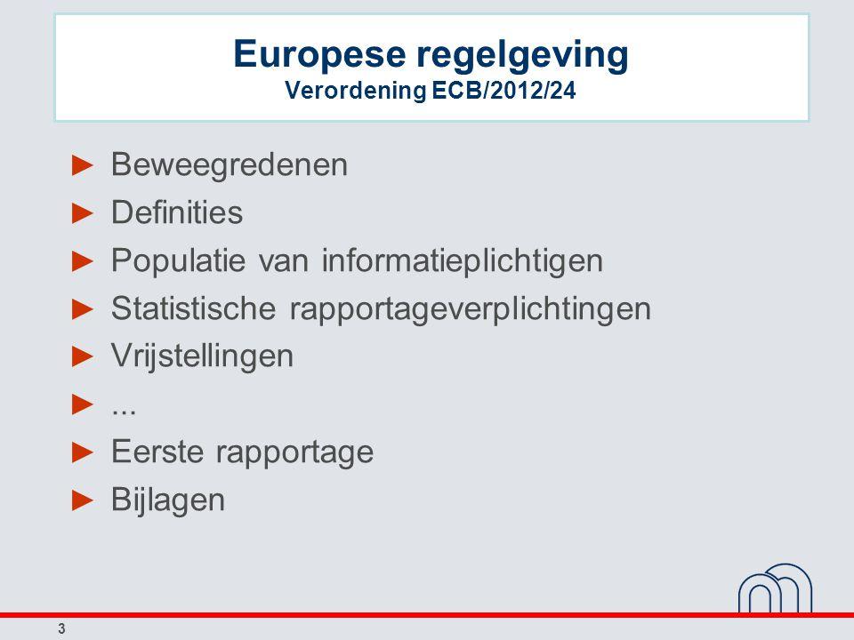 Europese regelgeving Verordening ECB/2012/24