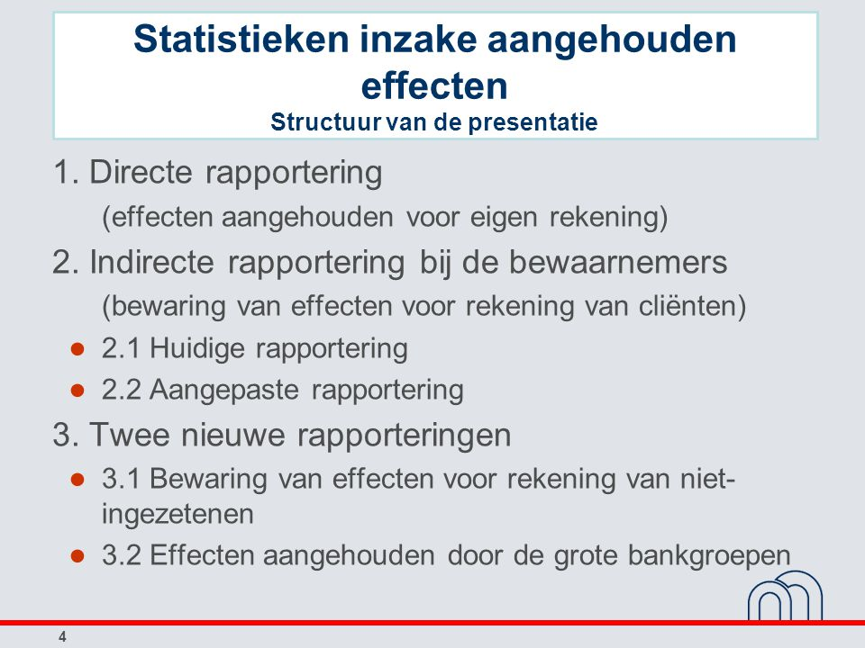 Statistieken inzake aangehouden effecten Structuur van de presentatie