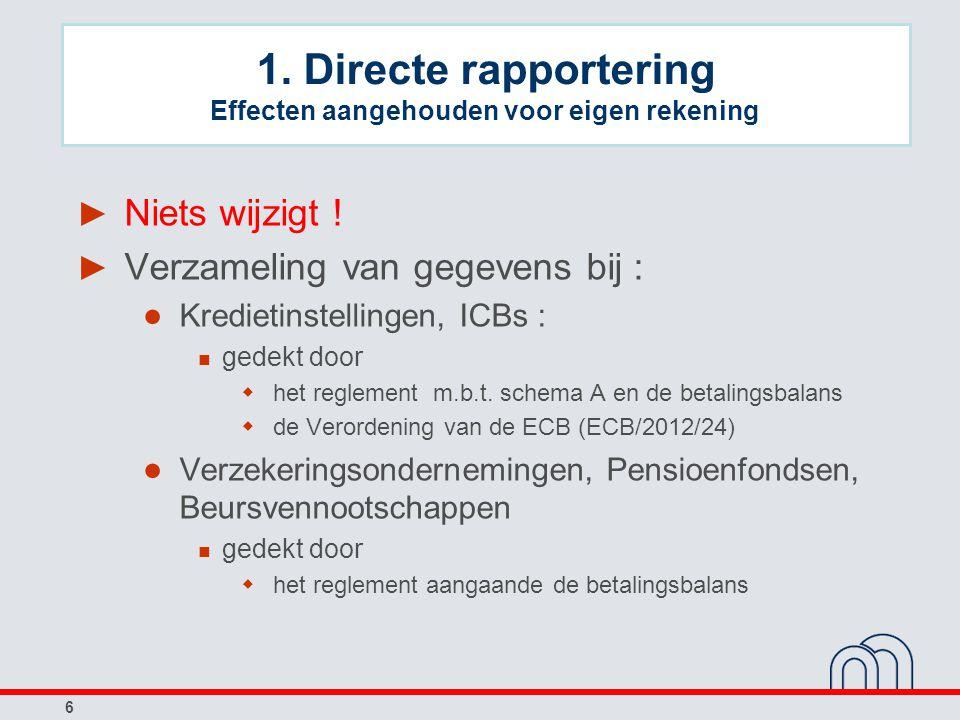 1. Directe rapportering Effecten aangehouden voor eigen rekening