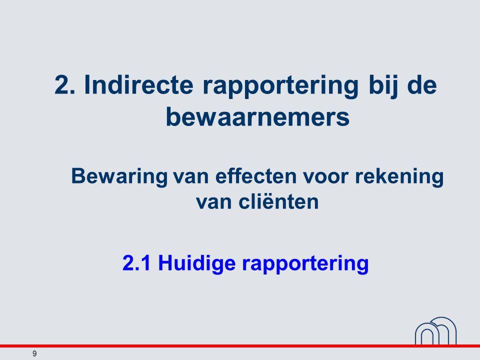 2. Indirecte rapportering bij de bewaarnemers