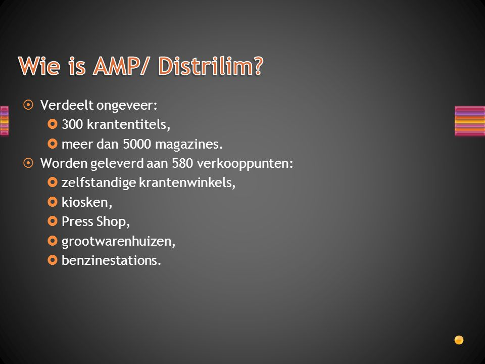 Wie is AMP/ Distrilim Verdeelt ongeveer: 300 krantentitels,
